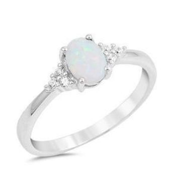 Sterling Silver White Oval Opal and CZ Accented Ring