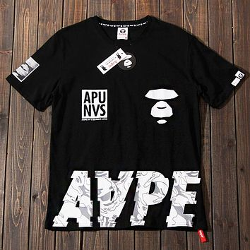 AAPE BAPE Popular Women Men Casual Print Pure Cotton T-Shirt Top Blouse Black