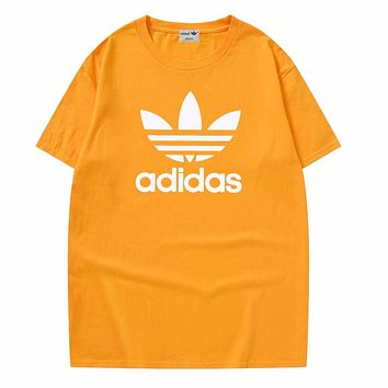 Adidas New fashion letter leaf print couple top t-shirt Yellow