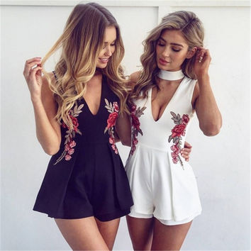 Embroidery Sexy V-neck Jumpsuit [11006862671]
