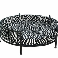 A.M.B. Furniture & Design :: Pet Furniture :: Round Zebra print chenille fabric upholstered pet bed with black metal frame