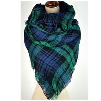 Forest Navy Blanket Scarf