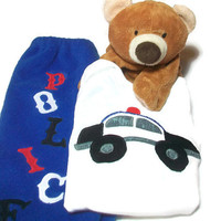Baby Boy Outfit - Boy Bodysuit Set -  Baby Police Car- Baby Winter Clothes,   Peapodlilfrogs