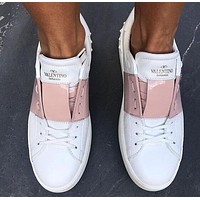 Valentino Fashionable Women Casual Leather Sneakers Sport Shoes White&Pink