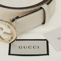 NEW GUCCI OFF WHITE GG GUCCISSIMA LEATHER LOGO BUCKLE BELT 95/38