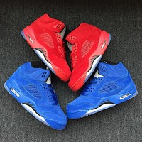 Nike Air Jordan Retro 5 Flight Suit Chicago Red Suede Blue Suede Child Sneakers Kid Sports Shoes