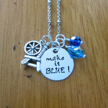 """Disney's """"Sleeping Beauty"""" Inspired Necklace. Fairy Merryweather. Good Fairy. Make it BLUE! Silver colored, Swarovski crystals."""