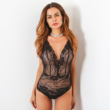 Hot Deal On Sale Cute Summer Women's Fashion Sexy Deep V Lace One-piece Exotic Lingerie [11553636239]