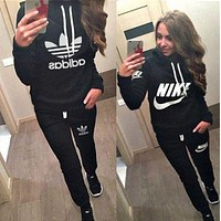 Adidas Nike Casual Hoodie Top Sweater Pants Trousers Set Adidas Two-piece Sportswear