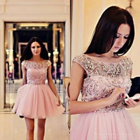 2016 Shiny Crystal Beading Pink Cocktail Dresses Sexy Backless Short Sleeve Formal Women A-Line Short Prom Party Gowns