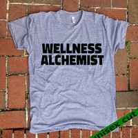Wellness Alchemist. Unisex heather gray tri blend T shirt . Fun Women Mens Clothing.Healthy. Workout.Gym. Awareness. Spiritual