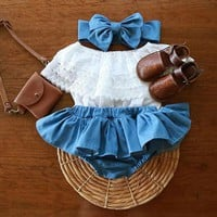 USA Baby Girls Newborn Clothes Lace Tops+Denim TuTu Skirts Dress Summer Outfits