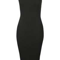 Ribbed Midi Bodycon Dress - Black