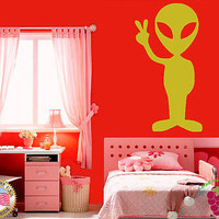 Vinyl Sticker Wall Art Decor Kids Child Room  Alien Piece Space Hippy em043