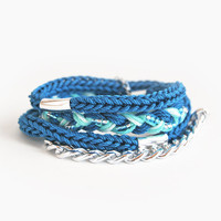 Teal wrap bracelet with chain, teal bracelet, chunky chain bracelet, braid bracelet, silver chain bracelet