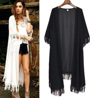 Women Tassel Kimono Jacket Chiffon Cardigan Long Top Blouse Beach Cover Up Dress