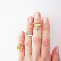 Simple modern geometric knuckle triangle, drop ring .Choose Your Color Geo ring. Simple modern geometric polymer clay ring