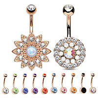 BodyJ4You Belly Button Ring Rose Gold Stainless Steel 14G Piercing Set 12 Pieces