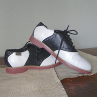 Vintage black and white saddle cheerleader 1950s shoes - small women or girl  brand is Bass