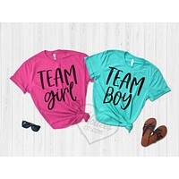 Team Girl and Team Boy Gender Reveal Party Shirts