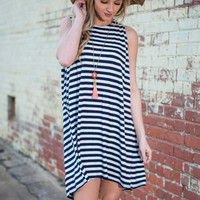 One Side To The Other Dress, Navy