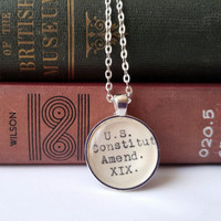 Women's rights necklace, 19th Amendment jewelry, US Constitution, women's empowerment, Nineteenth amendment, feminism gift, girl power,