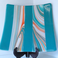 Large Fused Glass Serving Dish, Colors of the Southwest, Dining and Entertaining, Smokeylady54