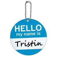 Tristin Hello My Name Is Round ID Card Luggage Tag