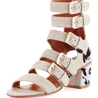Laurence Dacade Nora Embroidered Buckle-Strap Sandal
