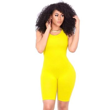 12 Colors S-XL Plus Size Women Sexy Jumpsuits And Rompers Backless Sleeveless Cropped Bodycon Jumpsuit Causal Sexy Wear