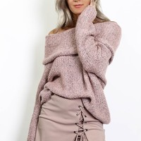 Make It Count Dusty Rose Off The Shoulder Sweater