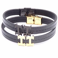 Hermes 2018 personality wild men and women couples leather rope stainless steel bracelet F-ZZZS