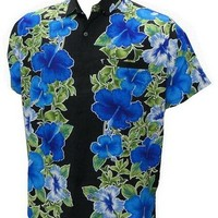 La Leela Black And Blue Floral Printed Hawaiian Shirt