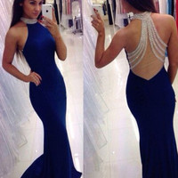 High Halter Mermaid Prom Dresses Blue Crystal Beading Sheer Back Satin Sexy Vestido De Festa De Formatura