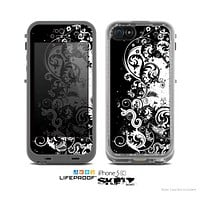 The Abstract Black & White Swirls Skin for the Apple iPhone 5c LifeProof Case