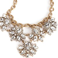 Gold and Clear Faceted Gems Necklace