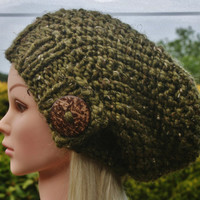 Hand Knit hat- Women's hat- Olive Green tweed- slouchy- beanie- hat with big coconut button- winter hat- Rustic Mega Chunky with wool