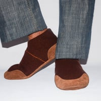 Men Cashmere Slippers with Suede Leather Soles, Eco-friendly Men Wool Shoes, Men Cashmere Socks. Size:USA Adults 6.5 -16.  Coffee Coolatta