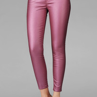 The Crop Skinny In Metallic Coated Pink    7 For All Mankind