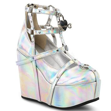 "Poison 25 Goth Punk Platform Cage Ankle Boot 5"" Wedge Silver Hologram"