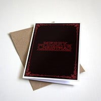 Merry Christmas - Stranger Things Christmas Card - Happy Holidays - Seasons Greeting - Pop Culture - 5 X 7 Inch card
