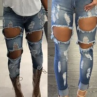 Ripped Holes Denim Skinny Pants [45272367129]