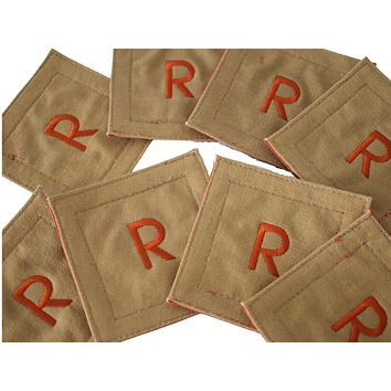 Vintage Initial R Embroidered Linen Coasters Set of 8 Natural Decor Boho Chic MCM