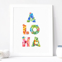 Aloha Print, Aloha Poster, Hawaii Print Poster, Typography Art, Summer Print, Tropical Instant Download