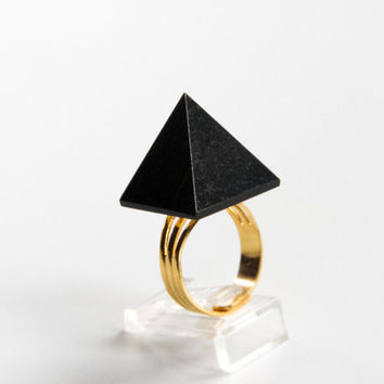 Black Pyramid Ring, Agate Statement Ring, Cocktail Ring