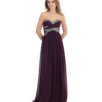Plum Strapless Sweetheart Embellished Gown 2015 Prom Dresses