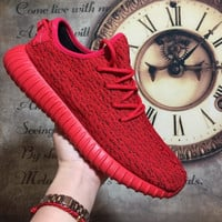 """""""Adidas"""" Women Yeezy Boost Sneakers Running Sports Shoes Red"""