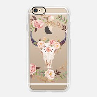 Pretty Casetify iPhone 7 Case | Watercolour Floral Bull Skull - Transparent Design by Ruby Ridge Studios (iPhone 6s 6 Plus SE 5s 5c & more)