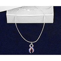 Large Red White Blue Ribbon Necklace