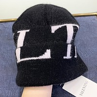 Valentino New fashion letter print knit cap hat Black